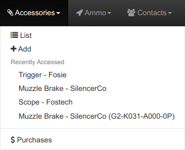 Accessories Menu Options