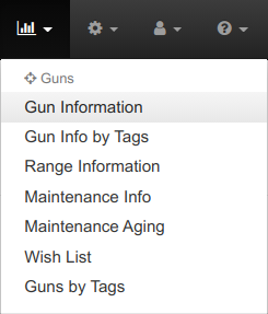 Gun Information Reports Menu Items