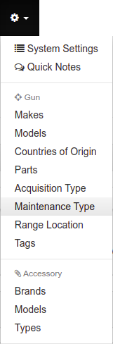 Main Menu Maintenance Type Setup