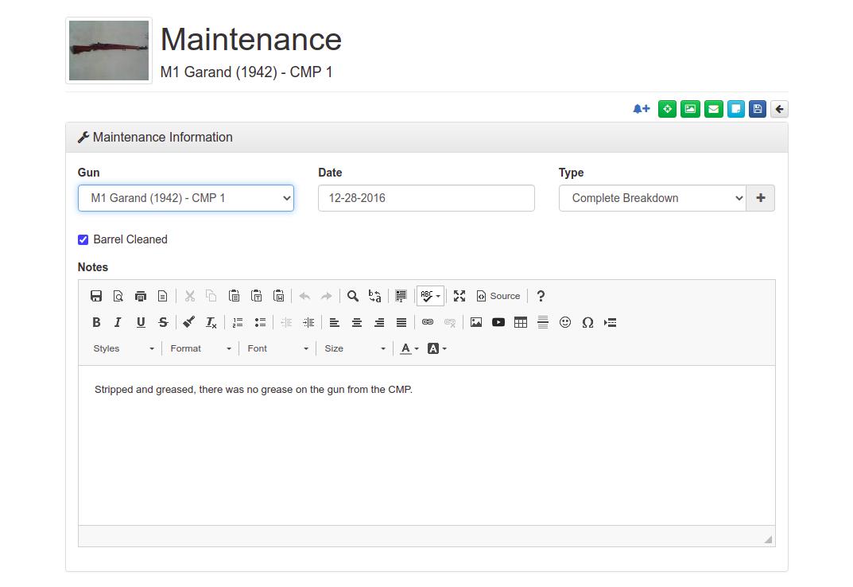 Maintenance Record Entry Screen
